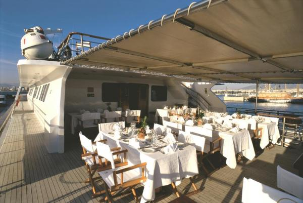 Dine on the deck aboard the Pegasus.