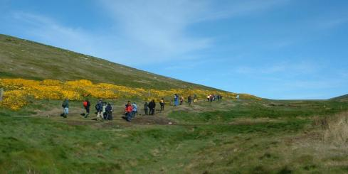 Hiking through the Falkland Islands.