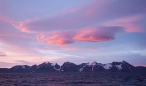 Sunset view of Greenland.