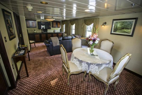 SS Legacy's lounge area in the Owner's Suite.