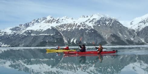 Kayaking through Alaska.