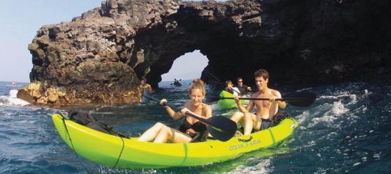 Kayaking in Hawaii's lava tubes.