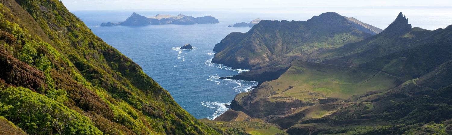 Dramatic shoreline surrounds Robinson Crusoe Island