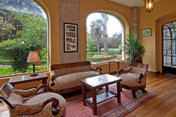 Enjoy the garden views from this sitting area at La Cienega