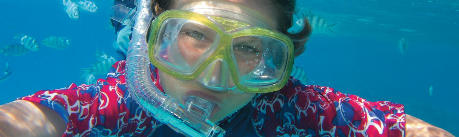 Enjoying a day of snorkeling.
