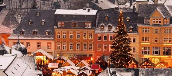 Rooftop image of a Christmas Market
