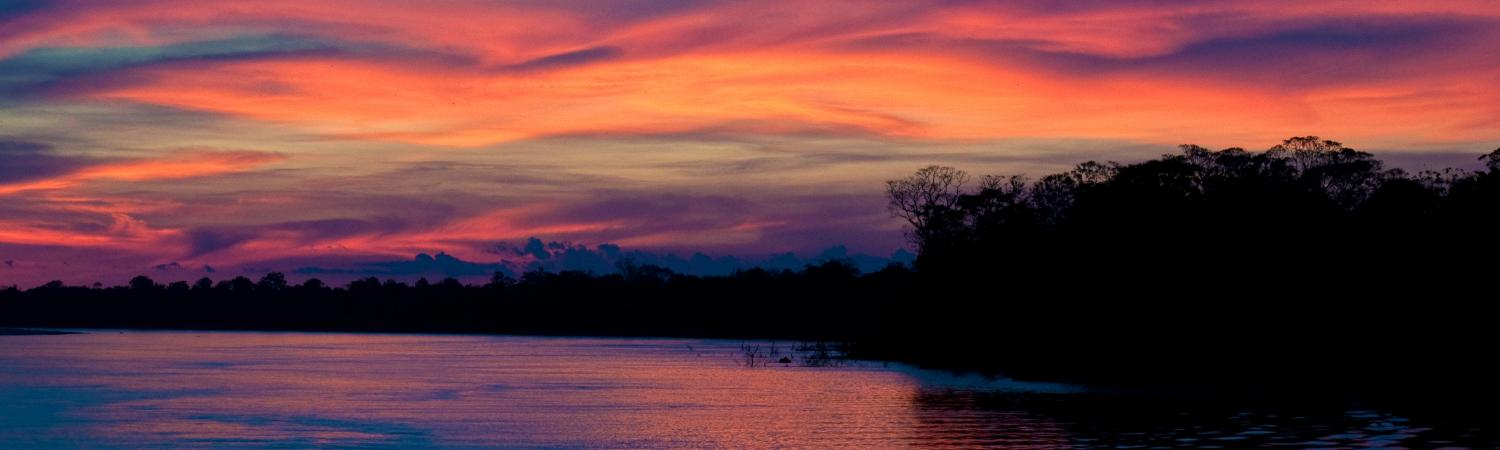 A beautiful sunset as you cruise the Amazon