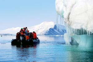 Touring icebergs in a zodiac.