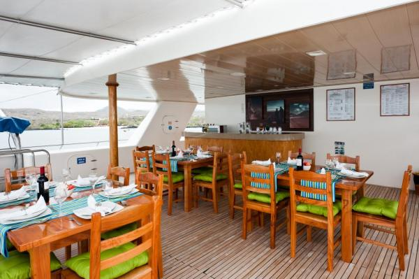 Dining on the Seaman Journey's deck.