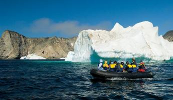Zodiac trip through arctic waters to view beautiful icebergs.