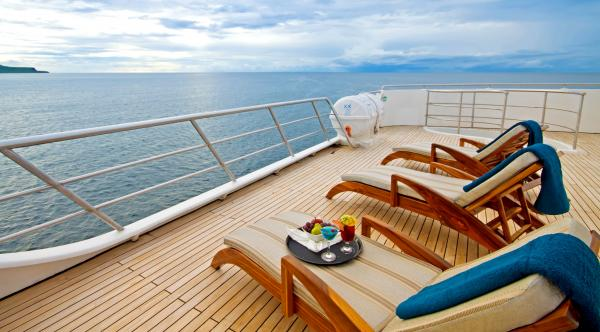 Enjoy the view from the Ocean Spray's sun deck.
