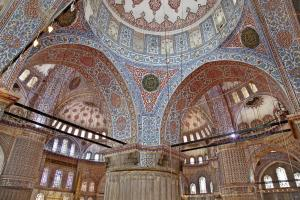 Interior image of the Blue Mosque.