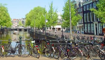 Bicycles on a bridge over the canal