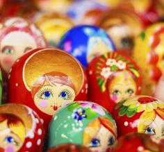 A cluster of multicolored babushka dolls.