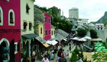 People shopping in the markets of Mostar.
