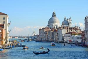 View of the Santa Maria della Salute from the Grand Canal.
