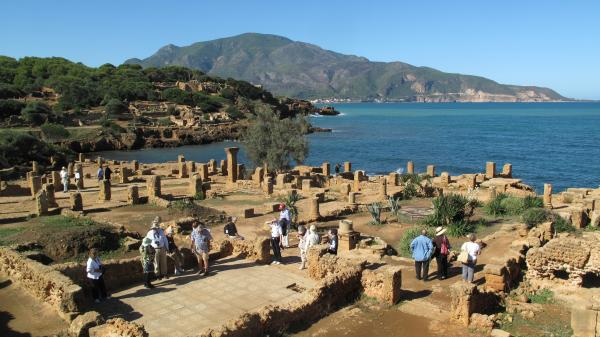 Ruins on the coast of the Mediterranean.