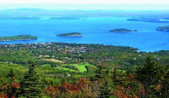 Aerial image of Bar Harbor.