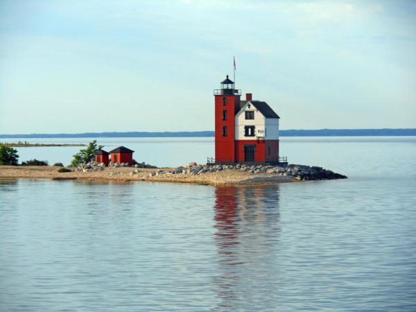 The Round Island Lighthouse in the  Straits of Mackinac.