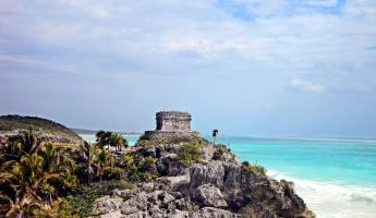 The Pre-Columbian Mayan city of Tulum.