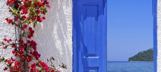 Door to beach in Santorini