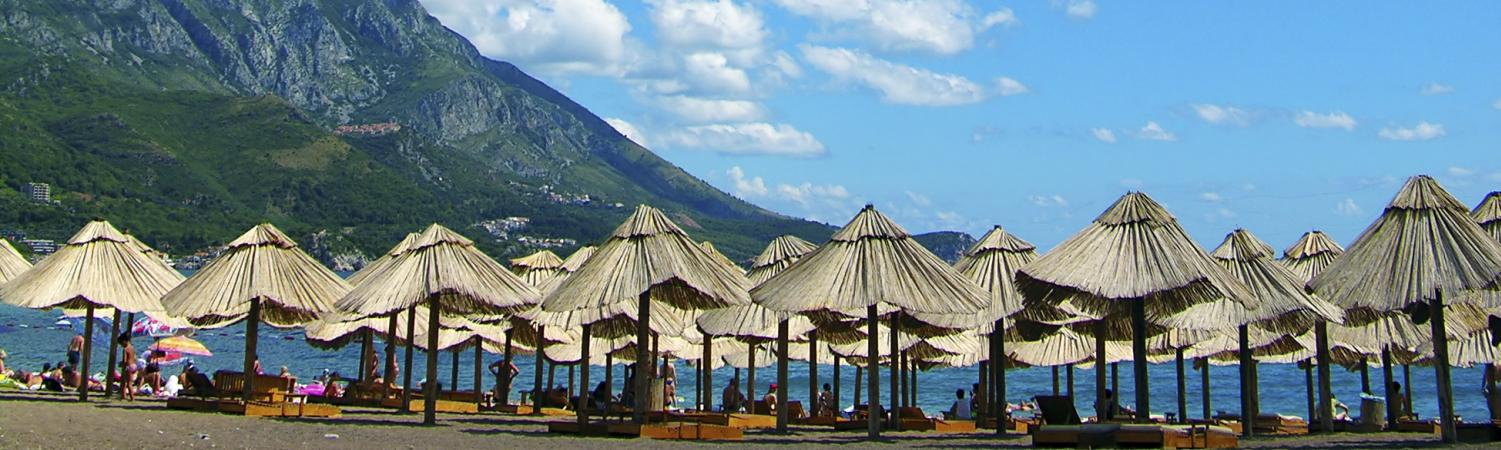Umbrellas on a beach in Montenegro.