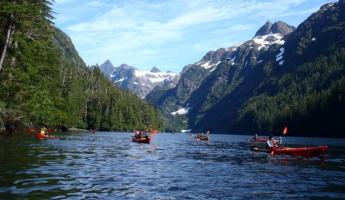 Kayaking though the Alaskan mountains.
