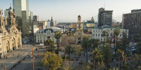 The Plaza de Armas is located in the heart of Santiago