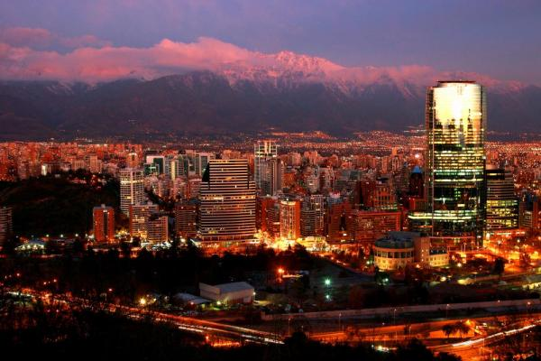 Beautiful downtown Santiago at dusk