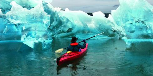Kayaking Tracy Arm Fjord in Tongass National Forest.