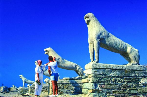 Visit the Street of Lions in Delos.