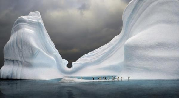 Penguins sit at the base of this beautiful iceberg.