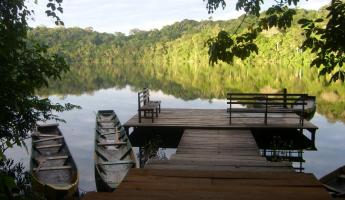 The landing dock at Chalalan Ecolodge