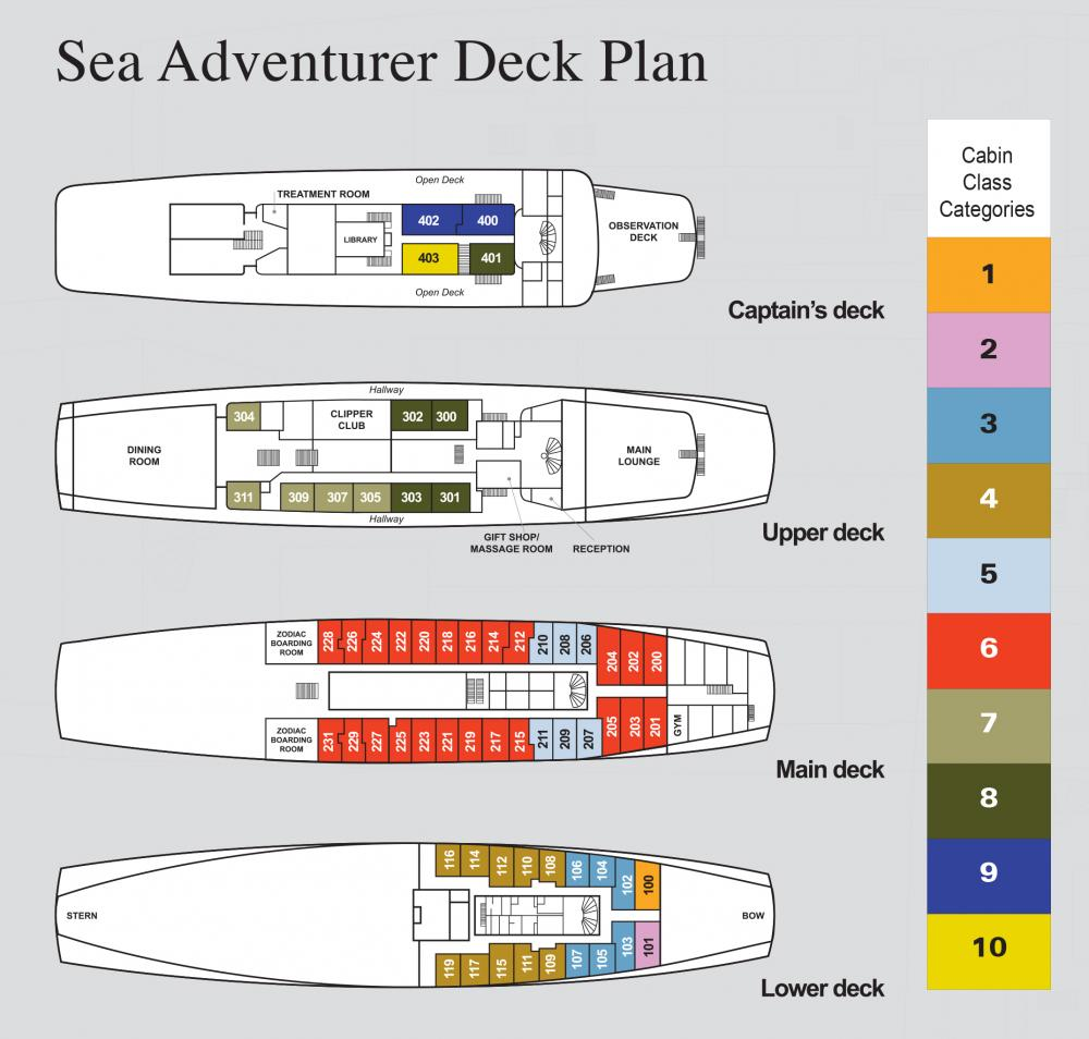 Sea Adventurer's Deck Plan.