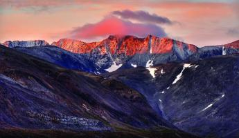 Beautiful artic mountains at sunset.