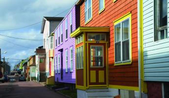 Colorful houses of local Canadian villages.