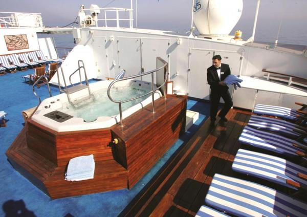 Relax in the jacuzzi on the sun deck of the Sea Explorer.
