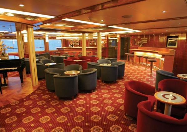 Relax in the club aboard the Sea Explorer.
