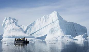 Zodiac tour through the icebergs.
