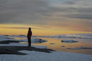 A traveler stares into the arctic sunset.