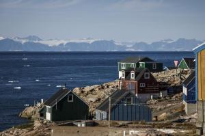 An arctic village on the coast.