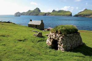 Stone house on the shores of St. Kilda Scotland.