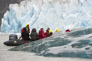 Zodiac tours through the ice.