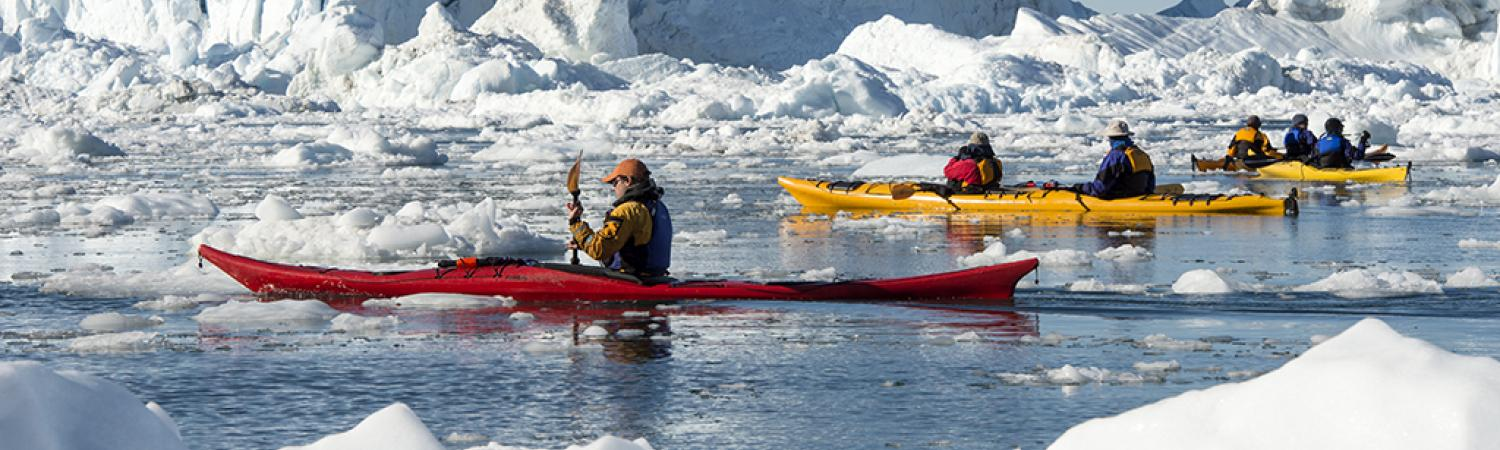Kayaking through the icy waters.