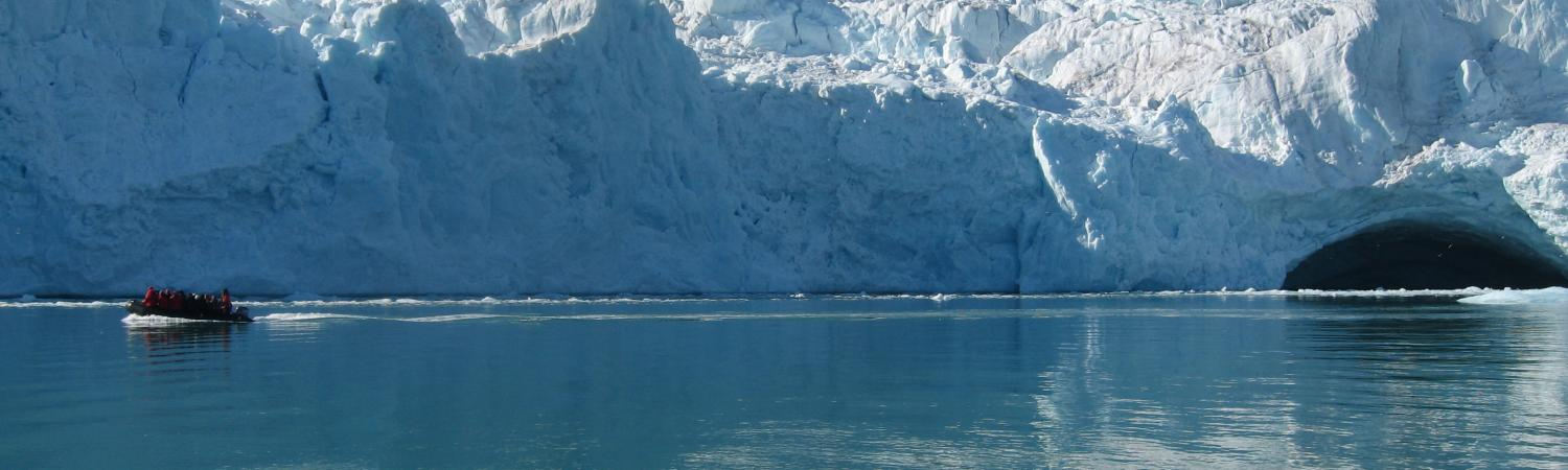 Take a zodiac tour around glaciers.