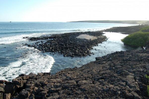 A view of the volcanic rocky shore.