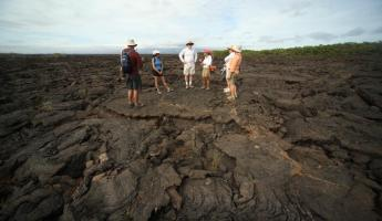 Travelers being guided across the volcanic landscape.