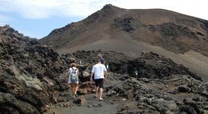 Hiking throught the volcanic mountains.