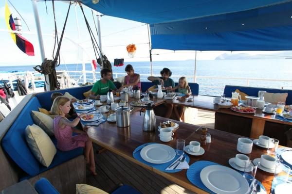Dining on the deck of the Mary Anne.