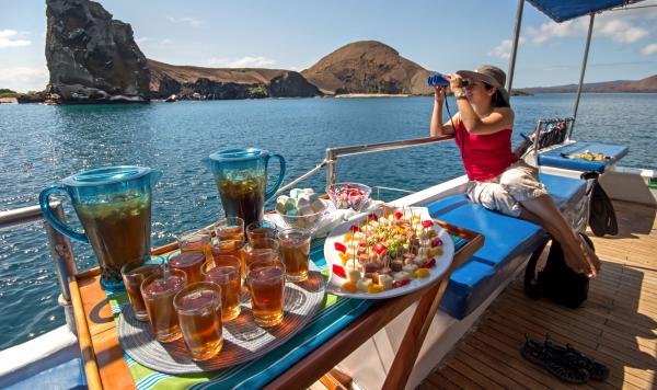 Enjoy sightseeing on the deck with a delicious snack.